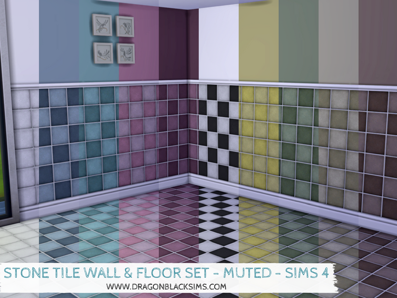 Stone Tile Wall & Floor Set - Muted - Sims 4 Walls & Flooring ...