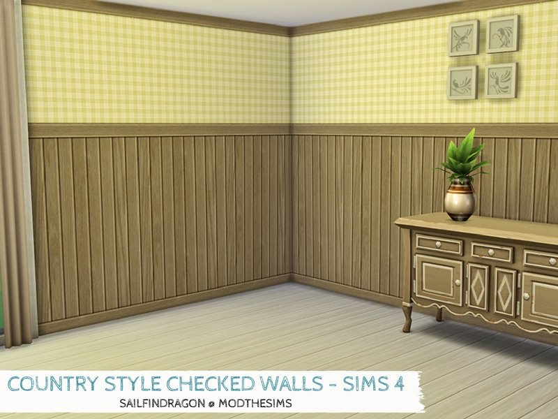 country style checked walls